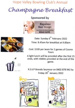 Champagne Breakfast 2022 @ Hope Valley Bowling and Community Club | Hope Valley | South Australia | Australia