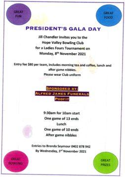 Ladies' President's Gala Day 8 November 2021 @ Hope Valley Bowls Club | Hope Valley | South Australia | Australia